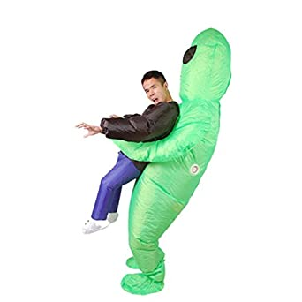 Amazon Com Inflatable Monster Costume Scary Green Alien Adult