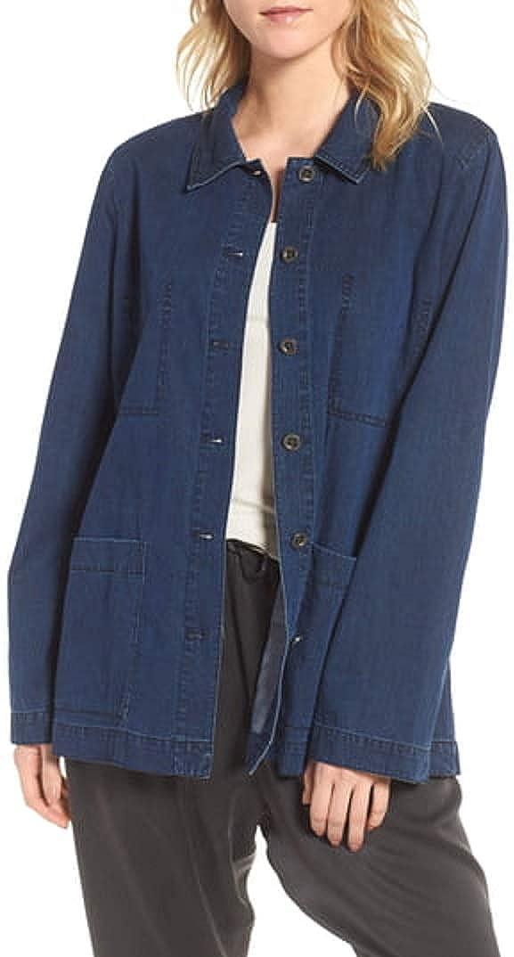 Eileen Fisher Denim Midnight Tencel/Organic Cotton Denim Classic Collar Jacket Size PP/PTP MSRP $258