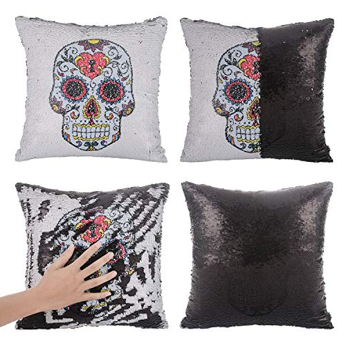 Xiaowli Skull Throw Pillow Covers Mermaid Sequin Pillow Magic Reversible Sequin Pillow Day Dead Halloween Decoration 16 x 16 (Only Pillow Cover)