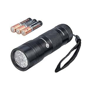 TaoTronics TT-FL001 UV Flashlight Blacklight, Dog Urine and Stains Detector, 12 Ultraviolet LED Light with AAA Batteries