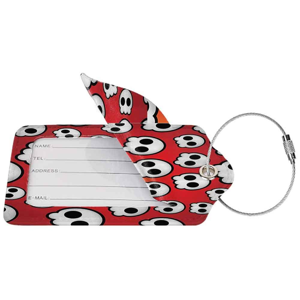 Flexible luggage tag Skulls Decorations Collection Contemporary Illustration of Various Sized Cute Skulls Teen Youth Emo Design Fashion match Red White Black W2.7 x L4.6