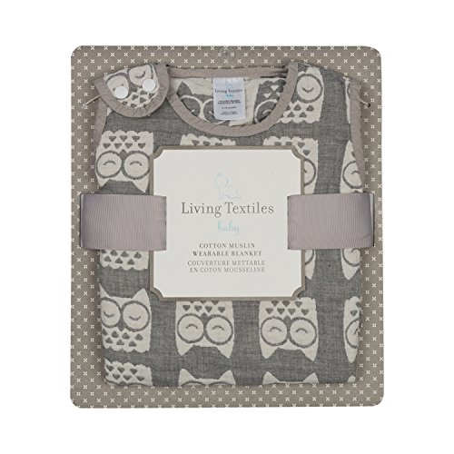 Organic Jacquard Blanket (Living Textiles Muslin Jacquard Wearable Baby Blanket - Grey Owl)