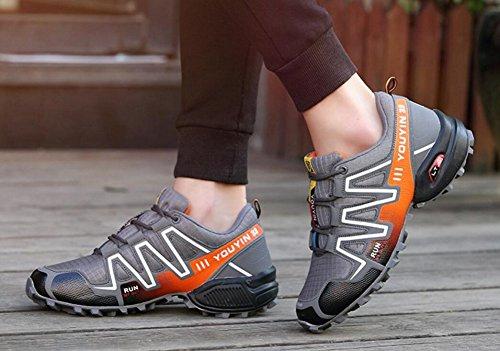 Herren Trail Running Schuhe Leistung im Freien Schnürschuhe Trail Runner von JiYe Graue Orange