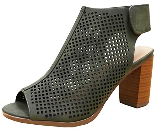 Cambridge Select Mujeres Laser Cut Slingback Stacked Tacón Bomba Botaie Khaki