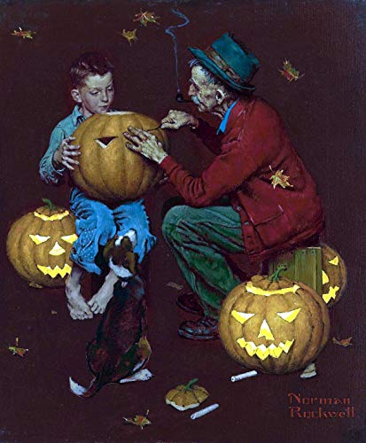 Old Man And Boy Halloween 1952 Norman Rockwell Art Print - 8 in x 9 in - Matted to 11 in x 14 in - Mat Colors Vary ... -