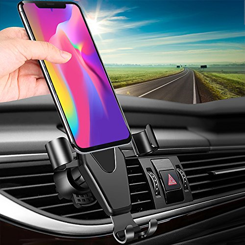 Car Phone Mount, TAKAGI Clip Gravity Cellphone Holder Mount Bracket Auto Lock Design Air Outlet Smarphones Mounts for iPhone X 8 7 6s Plus Samsung Note Huawei Google LG HTC, Up to 6.0″ inches (Gray)