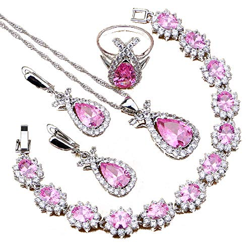 Fish Shape Silver 925 Jewelry Sets Natural Pink Cubic Zirconia For Women Party Europeans And Americans Necklace Set Ring Size 7