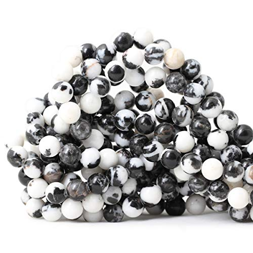 CHEAVIAN 45PCS 8mm Natural Black White Zebra Jasper Gemstone Round Loose Beads Crystal Energy Stone for DIY Jewelry Making 1 Strand 15