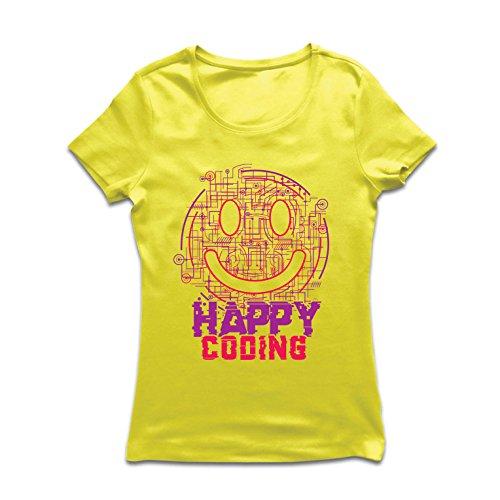 lepni.me Camiseta Mujer codificación Feliz - Sonrisa, Emoji Divertido Regalo Perfecto para Jugador o Soporte técnico de TI...