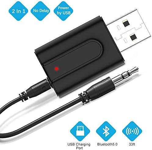 Zommuei Adaptador Bluetooth USB, Mini Receptor Bluetooth y Transmisor Bluetooth 5.0 2 en 1 Adaptador de Dongle Bluetooth con Audio Inalámbrico 3.5MM Cable para PC/TV/Auriculares/Altavoces/Radio: Amazon.es: Electrónica