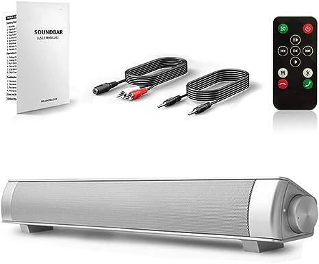 ZJHNZS Altavoz Bluetooth Barra de Sonido TV Barra de Sonido Cable e inalámbrico Bluetooth Home Theater TV Altavoz, Barra de Sonido Envolvente para TV, PC, Teléfono móvil, Plateado con Control rem: Amazon.es: