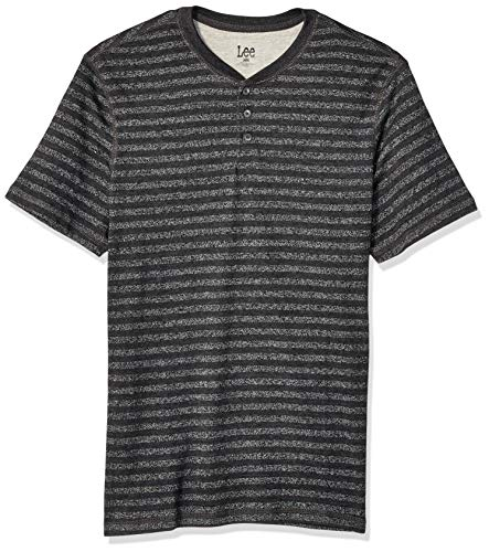 LEE Men's Short Sleeve Henley Shirt, Own Anthracite, Small ()