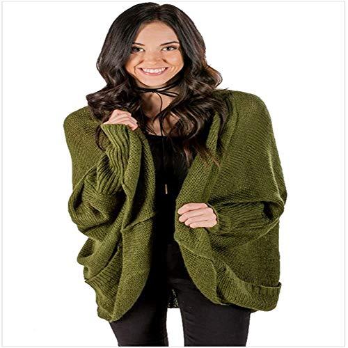 Largo Bolsillo Verde Cárdigan Abrigo Manga Suéter Punto Casual Puro Larga Kjgfghk De waxYUvqnA