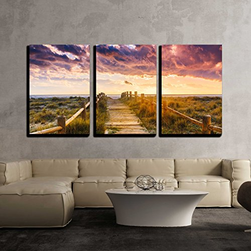 wall26 - 3 Piece Canvas Wall Art - Sunset beach near Almeria. Cabo de Gata Nijar Natural Park, Almería. Spain. Andalusia - Modern Home Decor Stretched and Framed Ready to Hang - 24''x36''x3 Panels by wall26