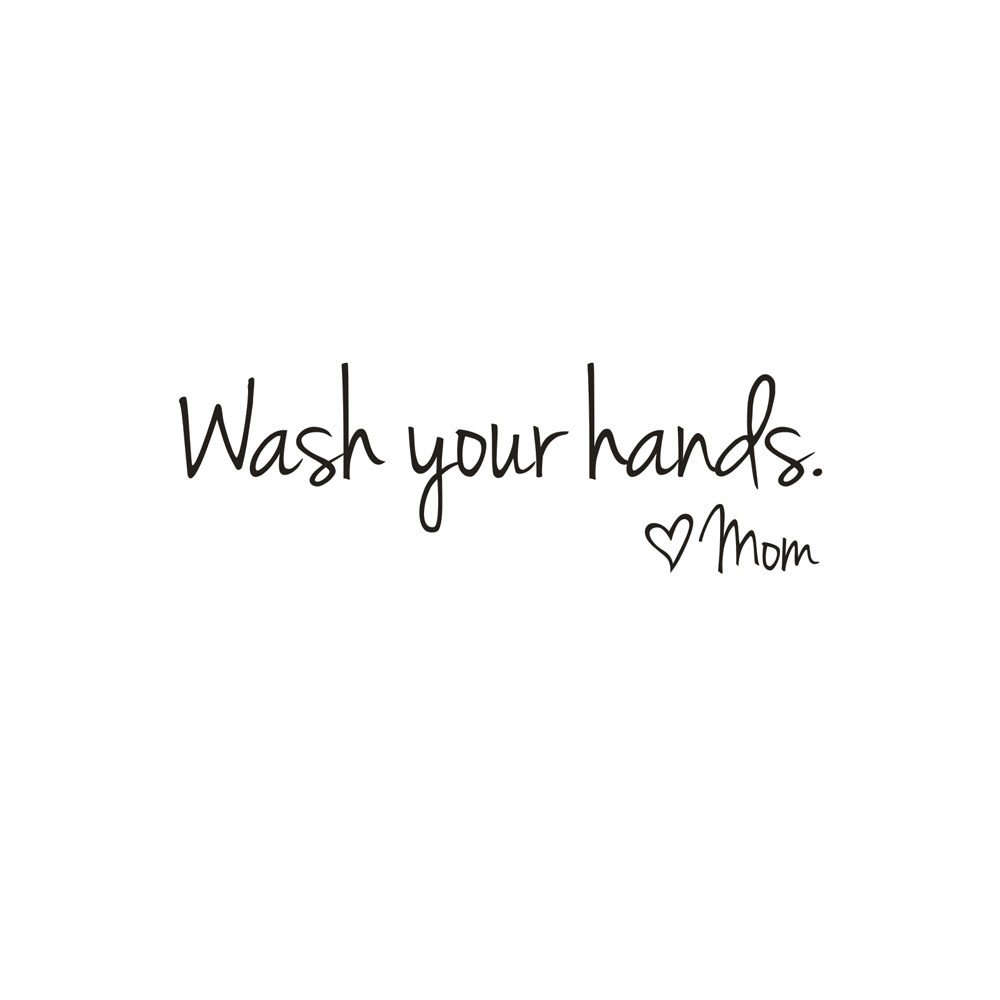 Futemo Wash Your Hands Mom Wall Sticker Decal Art Mural Wallpaper Home Decor Bedroom