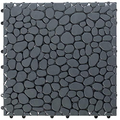 Gardenised QI003970.5 Interlocking Cobbled Stone Look Garden Pathway Tiles, Decorative Floor Grass Pavers Anti-Slip Mat…