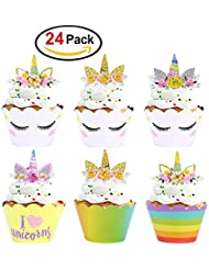 Rainbow Unicorn Cupcake Toppers With Double Sided Wrappers - For Unicorn Themed Party, Birthday Party Decoration, Set of 24 Pcs