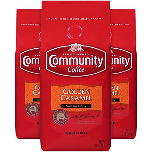 Community Coffee Premium Ground Coffee, Golden Caramel Flavored, Medium Roast, 12 oz., (Pack of 3)