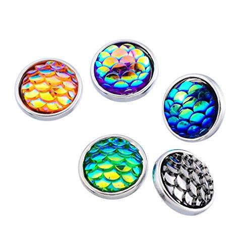 Souarts Mixed Fish Scale Pattern Acrylic Mini Snap Button Fit Bracelets 12mm Pack of (Pattern Mini Button)