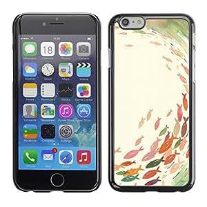 FECELL CITY // Duro Aluminio Pegatina PC Caso decorativo Funda Carcasa de Protección para Apple Iphone 6 // Pond Fishing Pastel Watercolor Art
