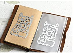 Chris-Wang Portable Adorable Cat Kitten Icon Stainless Steel Paper Stencil Drawing Template for Diy Photo Album, Travel Journal, Diary, Personal Planner and More (13.3x7.3cm)