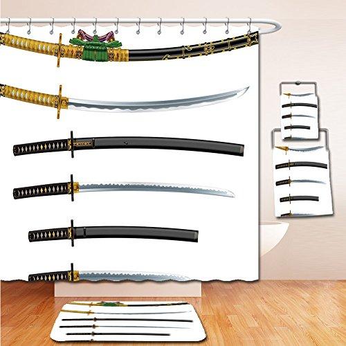 7 Kelston Toilet (LiczHome Bath Suit: Showercurtain Bathrug Bathtowel Handtowel Japanese Tapestry Set of Curved Slender Single-Edged Blade Japanese Swords Katana Historical Guard Image Decor Gold Black)