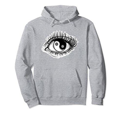 Unisex Yin Yang Symbol Hoodie - Surrealist Eye Spiritual Hoodie Small Heather Grey (Adult Sweatshirt Yang Yin)