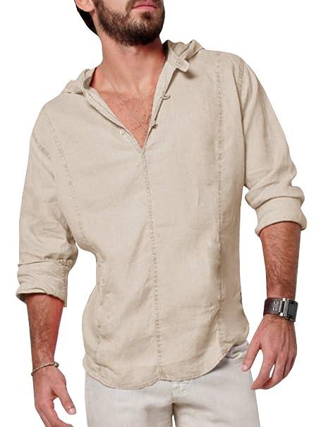 44e1dca6241 Makkrom Mens Linen Hooded Henley Shirts Roll-Up Long Sleeve V Neck Casual  Summer Beach