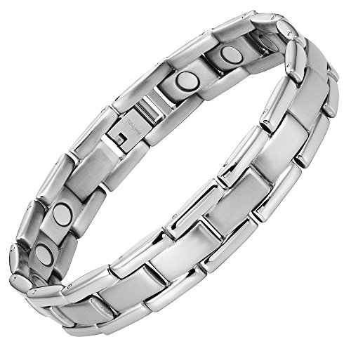 Willis Judd Mens Titanium Magnetic Therapy Bracelet Adjustable for Pain Relief Arthritis and Carpal Tunnel