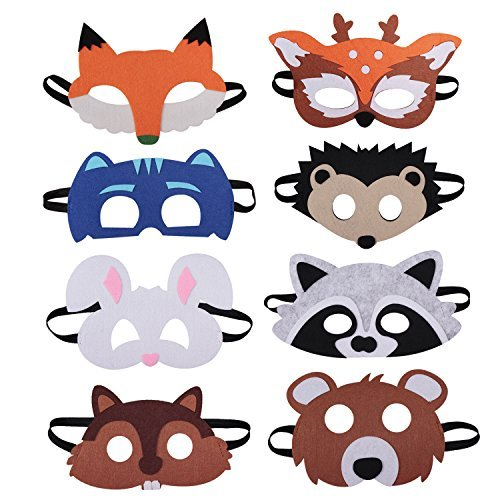 8 Pieces Forest Friends Felt Animal Mask for Birthday Party Favors Dress-Up Costume
