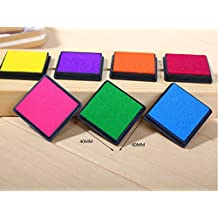 T O K G O - Multicolor Rainbow DIY Ink Pad Set - Contains 7 Hues of Waterbase, Easy Clean-up Inks - For Use with Small Rubber Art / Craft Stamps by T O K G O