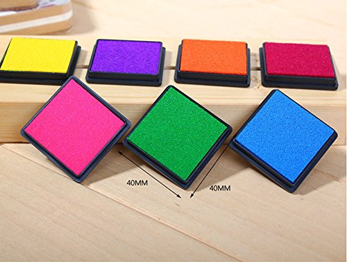 T O K G O - Multicolor Rainbow DIY Ink Pad Set - Contains 7 Hues of Waterbase, Easy Clean-up Inks - For Use with Small Rubber Art / Craft Stamps