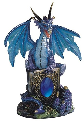 StealStreet Blue Dragon Holding Shield on Rock Collectible Figurine Statue - Dragon Statuette