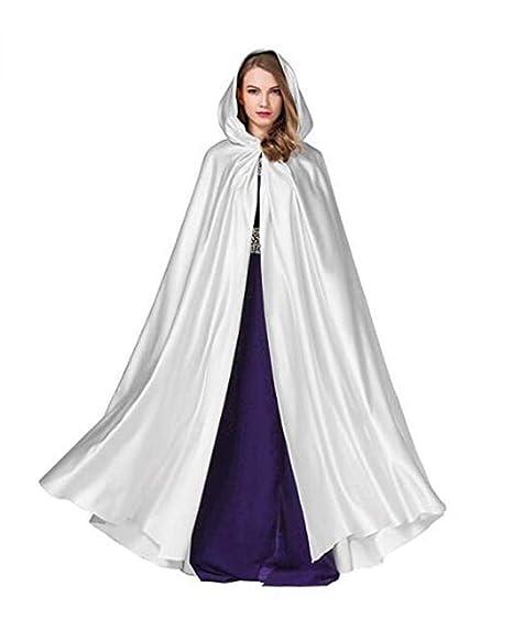 Mujer Invierno Cálido Cabo Novia Boda con capucha Cabo Fiesta Abrigo Manto de Navidad (Blanco
