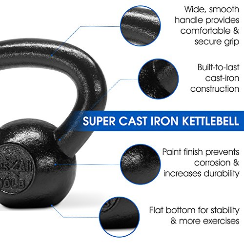 Yes4All Solid Cast Iron Kettlebell Weights Set – Great for Full Body Workout and Strength Training – Kettlebell 10 lbs (Black) by Yes4All (Image #3)