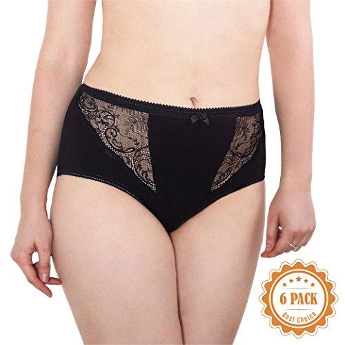 023 0504 Women's Underwear Panties Pack Cotton Brief High Cut Lace Trim Plus Size Undies, USA10/EUR 7XL Black 6 Pack