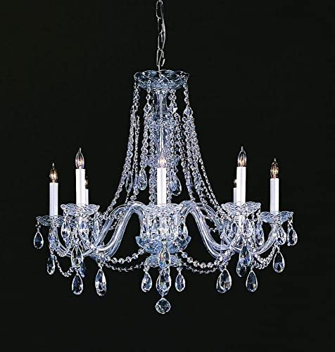Crystorama 1138-CH-CL-SAQ Crystal Eight Light Chandeliers from Traditional Crystal collection in Chrome, Pol. Nckl.finish,