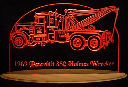 "Wrecker Tow Truck Towing Hauling 13"" Acrylic Lighted Edge Lit LED Sign Light Up Plaque Full Size USA Original"