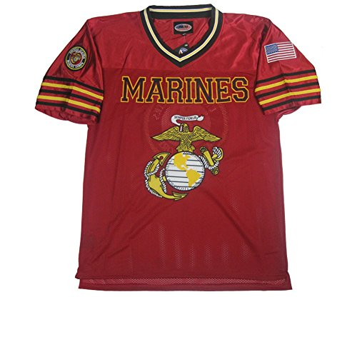 Red Embroidered Football Jersey - JWM Men's Football Jersey US Marines XXXLarge