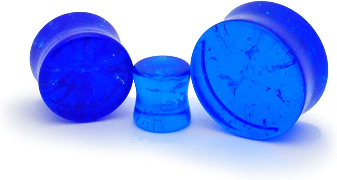 PG-526 Mystic Metals Body Jewelry Pair of Blue Crackle Glass Plugs Sold as a Pair