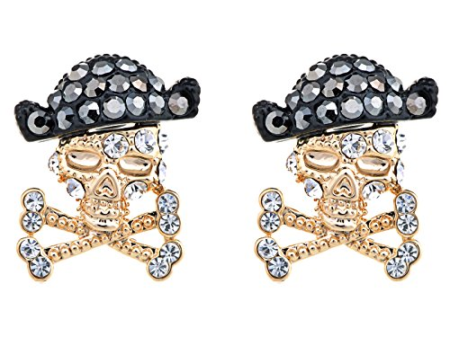 Alilang Golden Pirate Skull Treasure Sea Adventure Crystal Rhinestone Element Earrings -