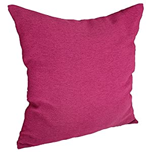 Deconovo Throw Cushion Faux Linen Home Decorative Hand Made Pillow Case Cushion Cover For Travel Use , 18x18-inch, Fuchsia