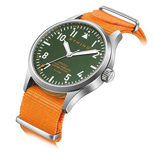 42mm Men's Stainless Steel Quartz Watch Sapphire Crystal 100 Meters Water Resistant (Fire Orange Nylon NATO -