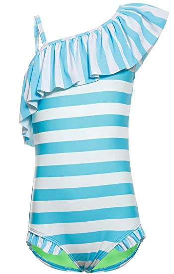 3a5d2f4feb0 Little Girls One Piece Swimsuits Ruffle Off Striped One Shoulder Bathing  Suits Size 4-5