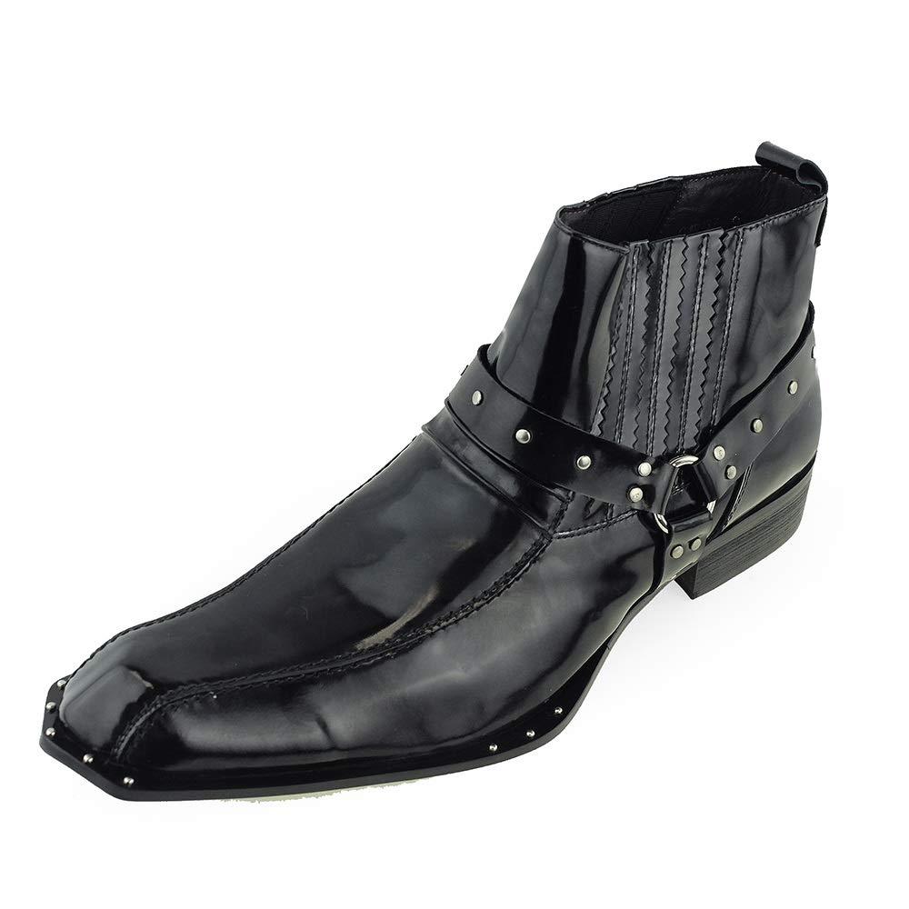 Beston Einzigartige Herren Stiefeletten Square Toe Studs (Farbe   Schwarz, Größe   46 EU)