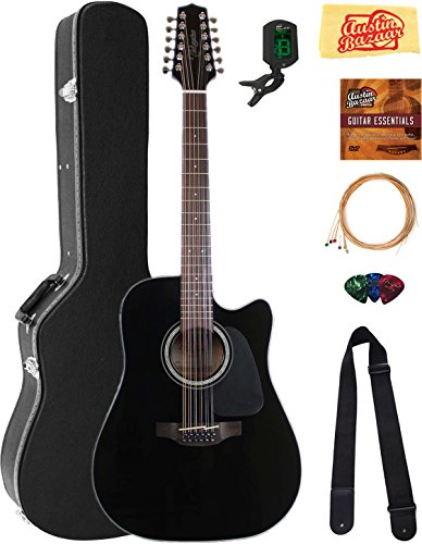 Takamine GD30CE12 12-String Dreadnought Acoustic-Electric Guitar - Black Bundle with Hard Case, Cable, Tuner, Strap, Strings, Picks, Austin Bazaar Instructional DVD, and Polishing Cloth ()