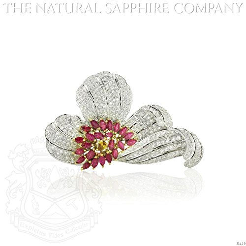 Natural Ruby Brooch diamonds 4.05ct. total. (J3419) - Diamond Ruby Sapphire Brooch