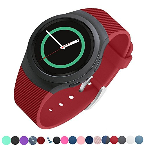 Lakvom Silicone Sport Style Watch Band for Samsung Gear S2 - Red Twill