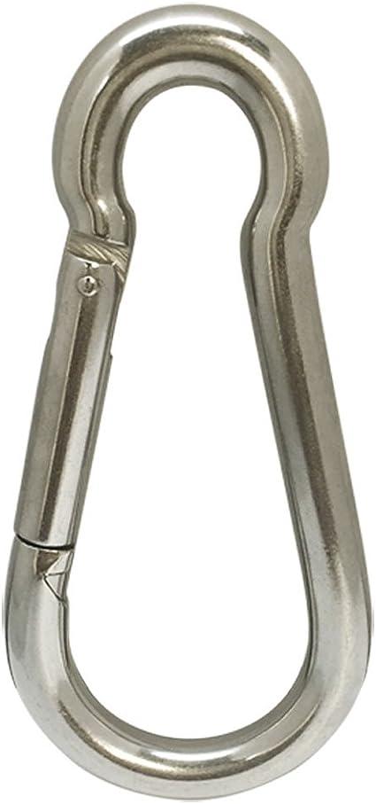 M5 50mm Outdoor Snap Spring Hook Clip Stainless Steel Carabiner Set of 10