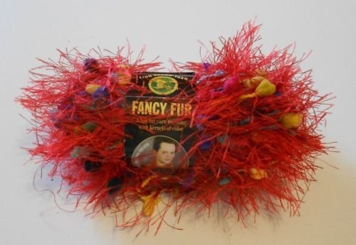 Skeins Lion Fancy Fur Yarn - Lion Brand Fancy Fur Eyelash Yarn - #213 Rainbow Red